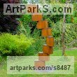 Corten Steel & Galvanised Steel Abstract Contemporary or Modern Outdoor Outside Exterior Garden / Yard sculpture statuary sculpture by sculptor Parmjit Singh Bhandol titled: 'abstract Tower (contemporary garden statue)'