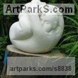 French Limestone Carved or Carving sculpture by sculptor Patrick Barker titled: 'In a tangle (Fun Curled up Man Stone garden statues)' - Artwork View 4