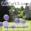 Plant Outdoor Outside Garden or Yard sculpture statue statuette sculpture by Paul Cox titled: 'Allium Field (life size Onion Flowers sculptures statue)'