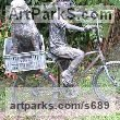 Bronze Resin Children Child Babies Infants Toddlers Kids sculpture statuettes figurines sculpture by sculptor Paul Gervis titled: 'Bikes Alex and Brandy (Girl and Dog on Bicycle statue)'