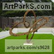 Corten Steel Abstract Contemporary Modern Outdoor Outside Garden / Yard Sculptures Statues statuary sculpture by Paul Wesson titled: 'Cosmic Language#1 (abstract modern Weathering Steel garden statue)'