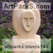 Monk`s Park Limestone Stylized People sculpture by sculptor Perryn Butler titled: 'Druid (abstract stone Half Sized gardenr Yard statue)'