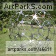 Stainless Steel Abstract Modern Contemporary Avant Garde sculpture statuettes figurines statuary both Indoor Or outside sculpture by sculptor Pete Moorhouse titled: 'Connection (Round Circular stainless Steel garden Yard statue)'