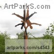 Steel and Fir Post Garden Or Yard / Outside and Outdoor sculpture by sculptor Pete Moorhouse titled: 'Ensemble (Tall Steel Fun Handstand Outdoor Male sculptures/statues)' - Artwork View 1