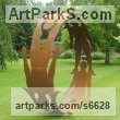 Steel Abstract Contemporary or Modern Outdoor Outside Exterior Garden / Yard sculpture statuary sculpture by sculptor Pete Moorhouse titled: 'Human Circle (Cut Out Silohuet Circular Hoop Steel Human Yard statue)' - Artwork View 4
