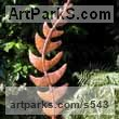 Copper Garden Or Yard / Outside and Outdoor sculpture by sculptor Peter M Clarke titled: 'Copper Leaf (Outside Large Big Fern Oak Rowan Foliage statues)' - Artwork View 1