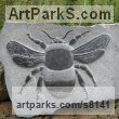 Black weardale marble Insect Sculptures, to include Bees, Ants, Moths, Butterflies etc sculpture by sculptor Peter Graham titled: '`Bumble Bee` (Carved stone Big Low Relief statuette)'
