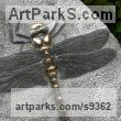 Weardale limestone Carved Stone, Marble, Alabaster, Soap Stone Granite Lime stone sculpture by Peter Graham titled: 'Golden-ringed Dragonfly (Large Low Relief Stone statue)'