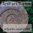 Mild Steel Garden Or Yard / Outside and Outdoor sculpture by sculptor Peter M Clarke titled: 'Ammonite II (Affordable garden or Yard Fossil Shell sculpture)' - Artwork View 2