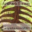 "Copper Floral, Fruit and Plantlife Sculpture by Peter M Clarke titled: ""Hanging Leaf lll (Big/Outsize Copper Fern Leaf Form garden/Yard statue)"""
