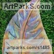 "stainless Steel/Wood Plinth Floral, Fruit and Plantlife Sculpture by Peter M Clarke titled: ""Variegated Leaf Form (Big/Outsize stainless Steel garden sculptures)"""