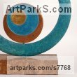 Bronze Abstract Modern Contemporary Avant Garde sculpture statuettes figurines statuary both Indoor Or outside sculpture by sculptor Philip Hearsey titled: 'Cycles VI (Modern bronze Blue Circular abstract Indoor statue)'