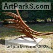 "Steel Abstract Contemporary or Modern Outdoor Outside Exterior Garden / Yard sculpture statue statuary by Philip Melling titled: ""Basilisk XIII (Steel bar Modern abstract garden sculpture)"""