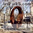 Corten steel Abstract Contemporary or Modern Outdoor Outside Exterior Garden / Yard sculpture statuary sculpture by sculptor Plamen Yordanov titled: 'Double Mobius Strip (brown Massive Steel Contemporary abstract statue)' - Artwork View 3