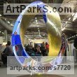 Leaded stained glass, bronze, LED lights Glass or Acrylic Transparant sculpture by Plamen Yordanov titled: 'Light Infinity (Coloured Mobius Strip/Ring statues)'