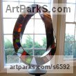 Leaded stained glass sculpture, bronze Conceptual Art sculpture often Large or Monumental Abstract Art by sculptor Plamen Yordanov titled: 'SG Mobius (Modern Contemporary Coloured Metal statue)'