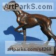 Bronze Domestic Animal sculpture by Priscilla Hann titled: 'English Pointer (Little Table Top Hound bronze standing Dog statuette)'