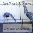 Steel Plate Abstract Fish sculpture by sculptor Ramsay Dick titled: 'Pair of Herons (Metal Steel Small Waders sculpture statuette)'