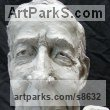 Ceramic Caricature sculpture statuettes sculpture by sculptor Richard Austin titled: 'Bust of Tony Benn (Caricature Portrait Head statue)'