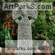 Reconstituted stone Religious sculpture by Richard Austin titled: 'Celtic Cross'