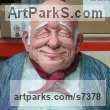 Resin Composite Human Figurative sculpture by Richard Austin titled: 'Granddad (Caricature Portrait Fun Coloured statue)'