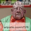 Resin Composite Flamboyant Colourful Exuberant Exotic Gaudy Gorgeous Dedcorative Vivid Brightly Coloured Spectacular sculpture by sculptor Richard Austin titled: 'Granddad (Caricature Portrait Humerous Coloured statue)' - Artwork View 5