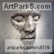 Stainless Steel or mild Steel coins Busts and Heads Sculptures Statues statuettes Commissions Bespoke Custom Portrait Memorial Commemorative sculpture or statue sculpture by Rick Kirby titled: 'Cloud Formation (abstract Outsize Mans Face sxculpture)'