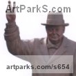 Cast bronze Public Art sculpture by Robin Bell titled: 'Churchill (Bronze Big Standing with V Sign sculptures)'