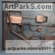 Steel Wall Mounted or Wall Hanging sculpture by Roland Lawar titled: 'Motion 2'