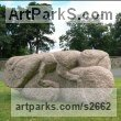 Granite Monumental sculpture by Ronald Rae titled: 'Dung Beetle (Large Outsize abstract Granite Carved Scarab sculptures)'