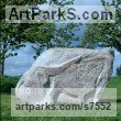 Granite stone Carved Stone, Marble, Alabaster, Soap Stone Granite Lime stone sculpture by Ronald Rae titled: 'Ox (Carved stone Granite abstract Cattle Outdoor statue)'