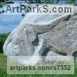 Granite stone Abstract Contemporary or Modern Outdoor Outside Exterior Garden / Yard sculpture statuary sculpture by sculptor Ronald Rae titled: 'Ox (Carved stone Granite abstract Cattle Outdoor statue)' - Artwork View 3