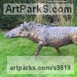 Bronze Resin Stylized Animals sculpture by Rosie Sturgis titled: 'Wilberforce the Warthog - Bronze resin'