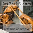 Teak Carved Wood sculpture by sculptor Roxanne Pocha titled: 'Harley Davidson Dream Machine (Carved Wood life size collectors statue)'