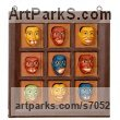 Mara wood Wall Panel Carved Engraved Cast Moulded sculpture plaque sculpture by sculptor Roxanne Pocha titled: 'Rogues Gallery (Male Caricature Faces sculpture)' - Artwork View 1