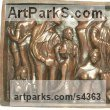Bronze Couples or Group sculpture by sculptor Sangeeta Sagar titled: 'Hoopla (Crowd Bas Relief Wall Plaque sculpture)'