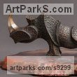 Bronze Animal Abstract Contemporary Modern Stylised Minimalist sculpture by Sergey Chechenov titled: 'Rhino'