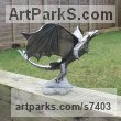 Mild steel Dragons sculpture by sculptor Shaun McPherson titled: 'Steel Dragon (Small garden Indoor sculpture)'