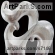 Greek Marble Abstract Contemporary or Modern Large Public Art sculpture statuary sculpture by sculptor Shimon Drory titled: 'Animal and Cub (Carved marble stone abstract Contemporary statuetttes)'