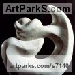 Carrara marble Abstract Contemporary or Modern Outdoor Outside Exterior Garden / Yard sculpture statuary sculpture by sculptor Shimon Drory titled: 'Navel String (Carved marble abstract Contemporary Modern statues)' - Artwork View 1