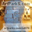 Brick Garden Or Yard / Outside and Outdoor sculpture by sculptor Shivashtie Poonwassie titled: 'Head (Blue) 2010 (abstract Outsize Brick Head sculptures/statues)' - Artwork View 4