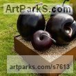 Bronze Fruit sculpture by sculptor Simon Gudgeon titled: 'Cherry (single) (Bronze Red Outdoor garden sculpture)'