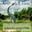 "bronze Birds Abstract Contemporary Stylised l Minimalist Sculpture / statue by Simon Gudgeon titled: ""Geranos 2 (Big Outsize Large Stylised Modern Stork Ibis Heron statue)"""