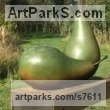 Bronze Fruit sculpture by sculptor Simon Gudgeon titled: 'Pears (each) (Giant Outsize Big Large garden sculpture)'