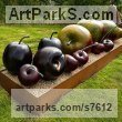 Bronze Fruit sculpture by sculptor Simon Gudgeon titled: 'Plums (Big Bronze garden or Yard Outdoor sculptures)'
