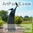 Bronze & Granite Wild Bird sculpture by Simon Gudgeon titled: 'Ravens (Bronze Perched Sitting Resting Yard statue)'