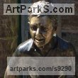 Bronze Human Figurative sculpture by sculptor Simon Mahoney titled: 'JB John Boy Portrait'