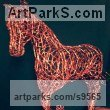 Copper wire Horses Small, for Indoors and Inside Display Statues statuettes Sculptures figurines commissions commemoratives sculpture by Simone Wojciechowski titled: 'Beautiful Copper Horse (Trotting Horse statue)'