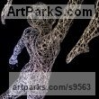 Galvanised steel wire Spirit of Dance Abstract Contemporary Modern sculpture by sculptor Simone Wojciechowski titled: 'Dancer Couple (Pas de Deux Ballet sculpture)' - Artwork View 2