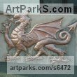 Copper Trompe l`Oeil Low Relief Panel Sculptures / Statues / panels sculpture by Stanley Jankowski titled: 'Welsh Dragon (Wall Plaque High Relief Wall hung statue sculpture)'